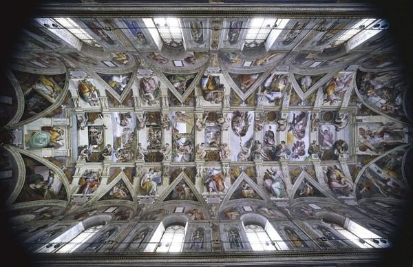 Imagen muestra la bóveda de la Capilla Sixtina, una de las joyas del Renacimiento zdel Palacio apostólico del Vaticano y visitada cada día por miles de personas.