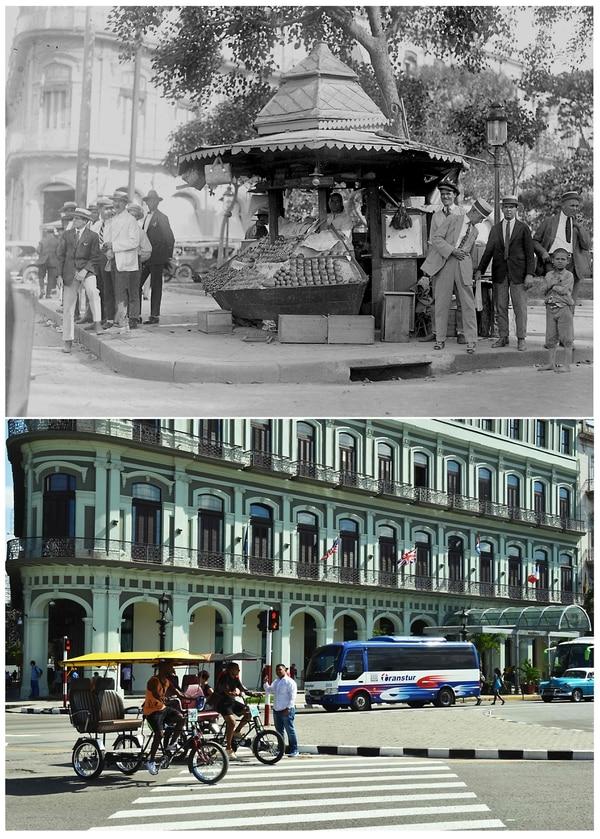 En la fotografía de arriba se muestra cómo lucía el Hotel Zaratoga en la década de 1930, la de abajo fue tomada el pasado 11 de noviembre. Fotografías: Fototeca de la Universidad de la Oficina del Historiador de La Habana, Adalberto Roque/ AFP