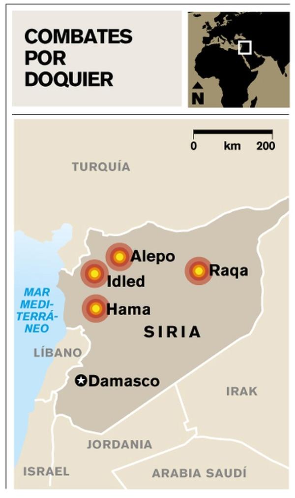 Mapa de ubicación de combates en Siria.