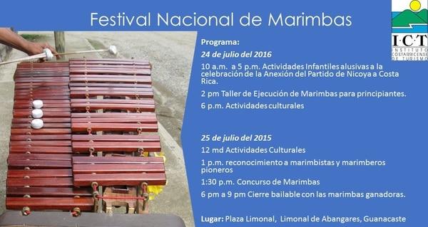 Programa de actividades del Festival Nacional de Marimbas