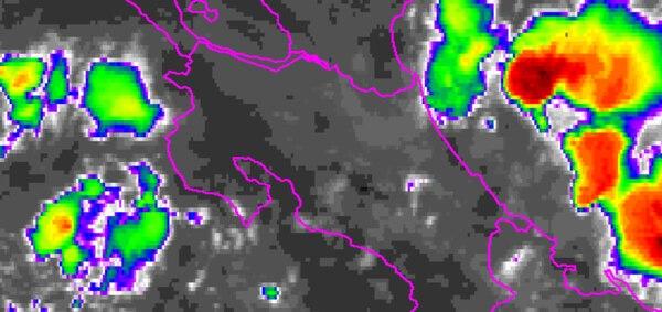 Fuertes lluvias y bancos de niebla se presentarán durante la tarde de este jueves en el Valle Central, la vertiente del Pacífico, la Zona Norte y el Caribe.