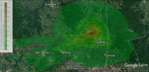 En el mapa de dispersión, los colores más rojos se refieren a los lugares con una posible mayor afectación, mientras que los tonos amarillos representan una afectación media, y los verdes a una baja afectación.