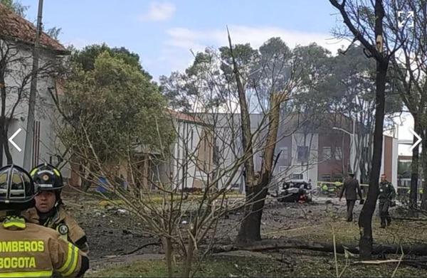 La explosión se produjo en las inmediaciones de la Escuela de Cadetes General Santander, en Bogotá, este jueves 17 de enero del 2019.