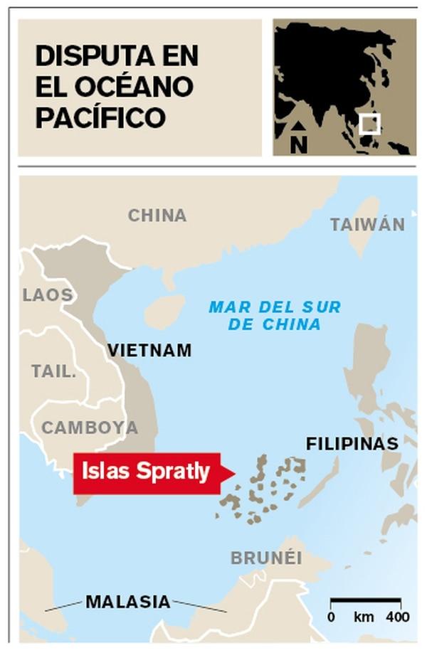 Mapa de ubicación de las Islas Spratly.