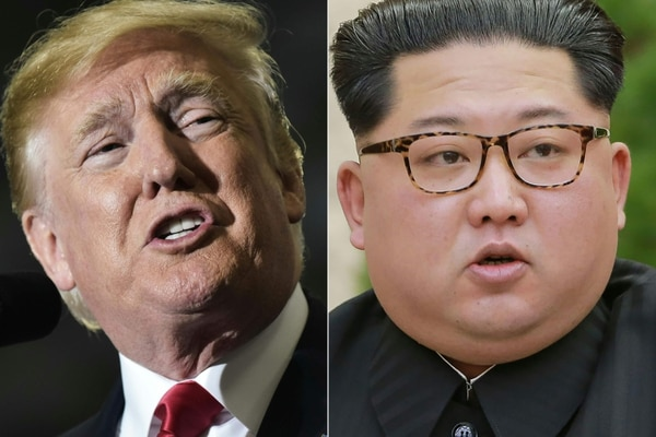 El presidente estadounidense Donald Trump participó en un mitin en Washington (der.), el 28 de abril del 2018 y el líder norcoreano Kim Jong-un pronunció un discurso mientras asistía a una cita con el Partido de los Trabajadores de Corea del Norte, en Pionyang.