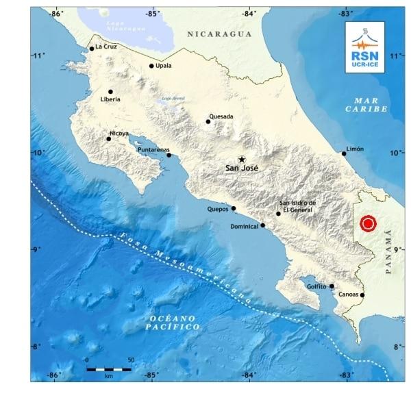 El punto rojo al noreste de Panamá, muestra la zona epicentral del sismo de