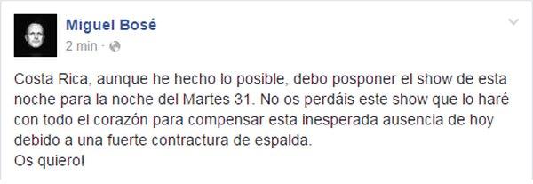 Miguel Bosé hace anuncio en su cuenta de Facebook.