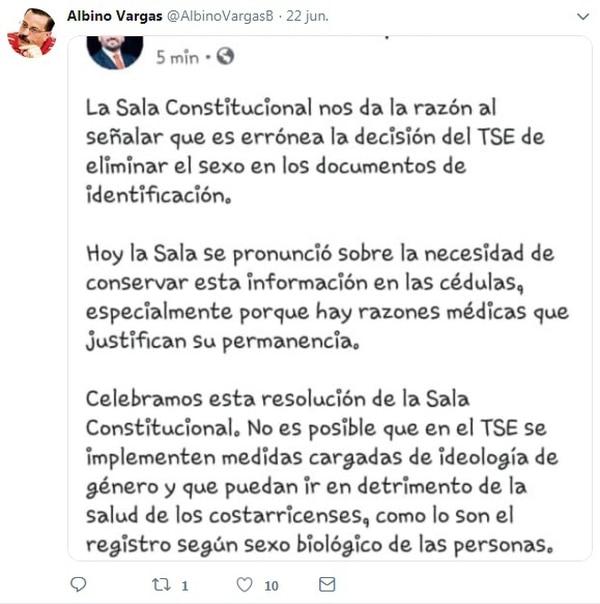 Este es el mensaje del diputado Jonathan Prendas difundido por Albino Vargas en su cuenta de Twitter.
