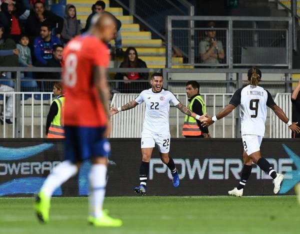 Rónald Matarrita celebró su gol con Jonathan McDonald. Fotografía: Martín Bernetti / AFP