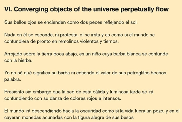 VI. Converging objects of the universe perpetually flow, poema de Mauricio Molina
