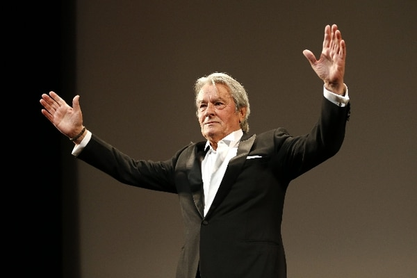French actor Alain Delon gestures on May 25, 2013 as he attends a tribute to French director Rene Clement before the screening of the new restored version of the film