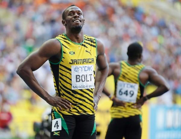 El jamaiquino Usain Bolt reaccionó relajado tras ganar la semifinal en la prueba de los 200 metros en Moscú. Hoy intentará revalidar título. | AFP