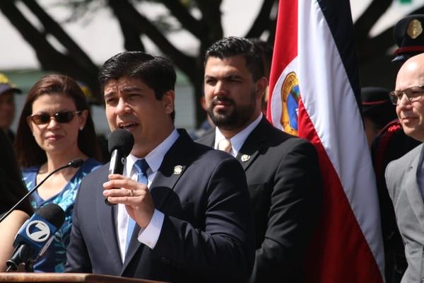 Carlos Alvarado, presidente de la República, este 22 de noviembre en San José durante el anuncio de un operativo de seguridad para fin de año. Foto: Casa Presidencial
