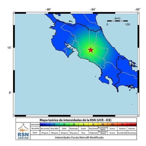 Mapa de intensidades reportado por la Red Sismológica Nacional.
