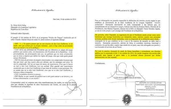 La nota enviada por el presidente Luis Guillermo Solís al diputado de su partido, Ottón Solís, no deja espacio para más comentarios, señaló ayer un comunicadio de la Presidencia. | INFOGRAFÍA LN