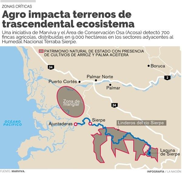 Mapa con zonas afectadas en Humedal Térraba-Sierpe