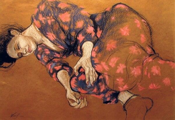 'Reposo'. Tiza pastel sobre papel 'Kraft' de la artista Ana Griselda Hine. Fotografía: Galería Nacional para LN.