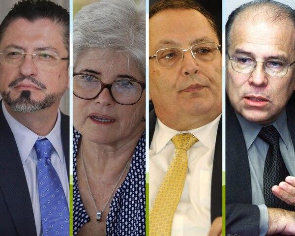 En el siguiente orden, los exministros de Hacienda Rodrigo Chaves, Rocío Aguilar, Fernando Herrero y Jorge Walter Bolaños.