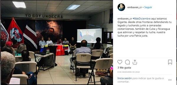 El 8 de diciembre de 2018, la embajada de Venezuela en Costa Rica publicó esta imagen en Instagram sobre una actividad política realizada en Undeca. Foto: captura de Pantalla.