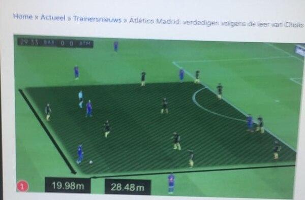 En la imagen se refleja como en un espacio corto del terreno de juego se junta el bloque del Atlético de Madrid, al punto de colocar a 10 de sus jugadores en esta pequeña zona. Con este bloque consiguió frenar al Barcelona.