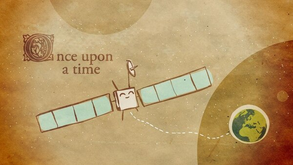 La empresa de comunicación Design & Data diseñó una campaña para despertar el interés en el público de la misión Rosetta y su robot Philae como esta caricatura del artista Carlo Palazzaro