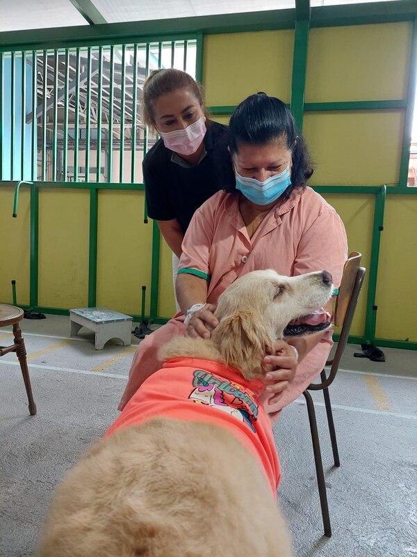 Doña Susana es una paciente del San Juan de Dios, que el 21 de abril se salió de su rutina hospitalaria y pudo convivir con Tica, una golden entrenada. Foto: Cortesía