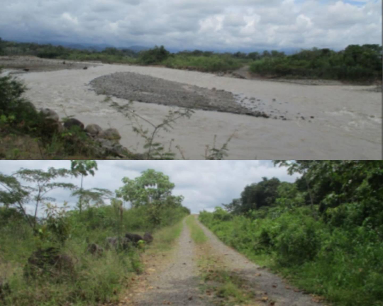 Estas fotografías son parte del área, en el río Chirripó, en Siquirres, Limón, donde Meco explotaba materiales como  arena, piedra y grava. Reproducción de expediente del caso de la Dirección de Geología y Minas.