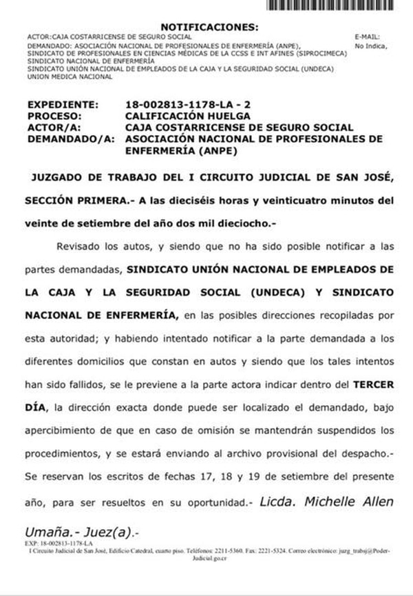 Esta la nota de la jueza Michelle Allen Umaña donde confirma dificultades para notificar a los sindicalistas.