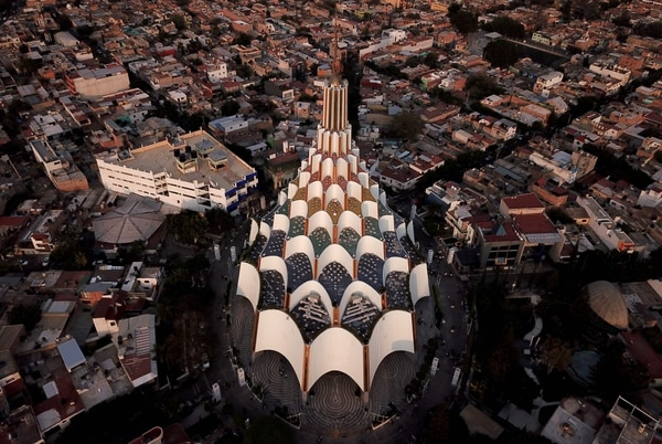 Vista aérea del templo de La Luz del Mundo, ubicado en Guadalajara, México. Es el centro de la comunidad Hermosa provincia.AFP