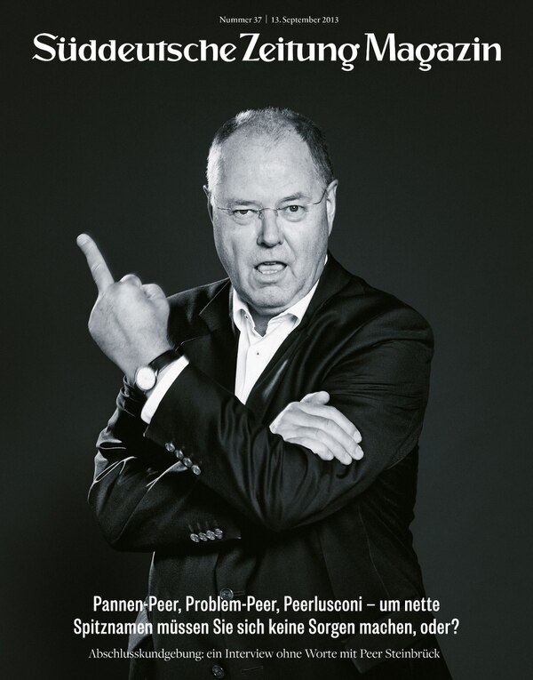La imagen de Peer Steinbrueck apareció en la portada de la revista Sueddeutsche Zeitung (SZ).