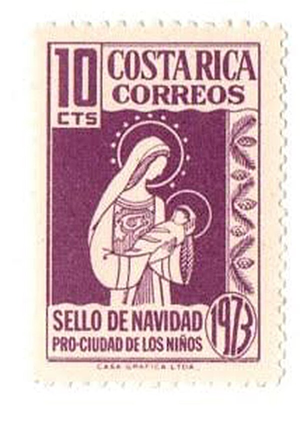 La Virgen María en una de las estampillas. Foto: César Sancho.