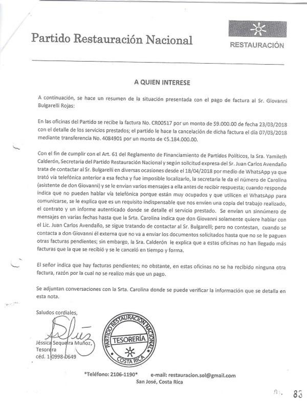 Carta remitida por la tesorera de Restauración, Jessica Sequeira, al TSE, sobre cobros de Giovanni Bulgarelli. Reproducción