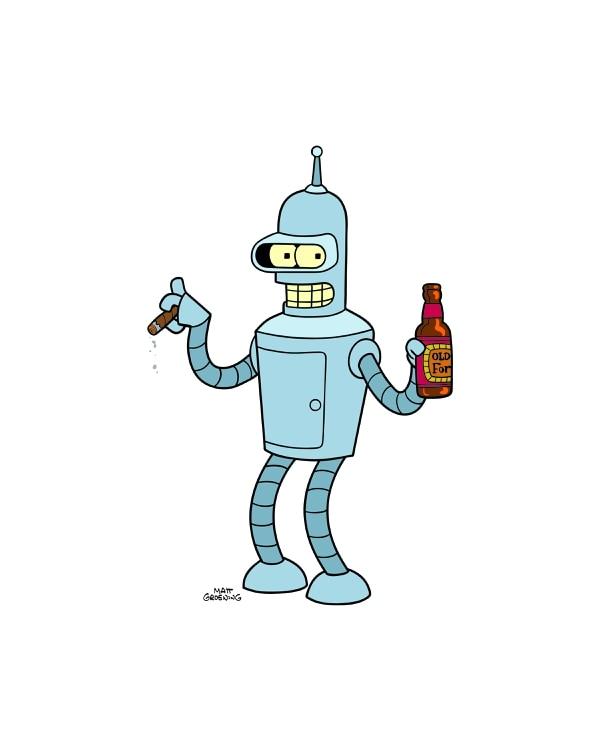 Bender es un robot que tiene problemas con el licor, pero la única forma que encuentra para