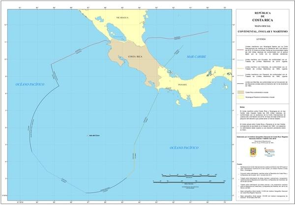 Este es el mapa oficial que muestra todo el territorio continental, insular y marítimo de Costa Rica. Cartografía elaborada por el Instituto Geográfico Nacional. Cortesía de la Cancillería costarricense