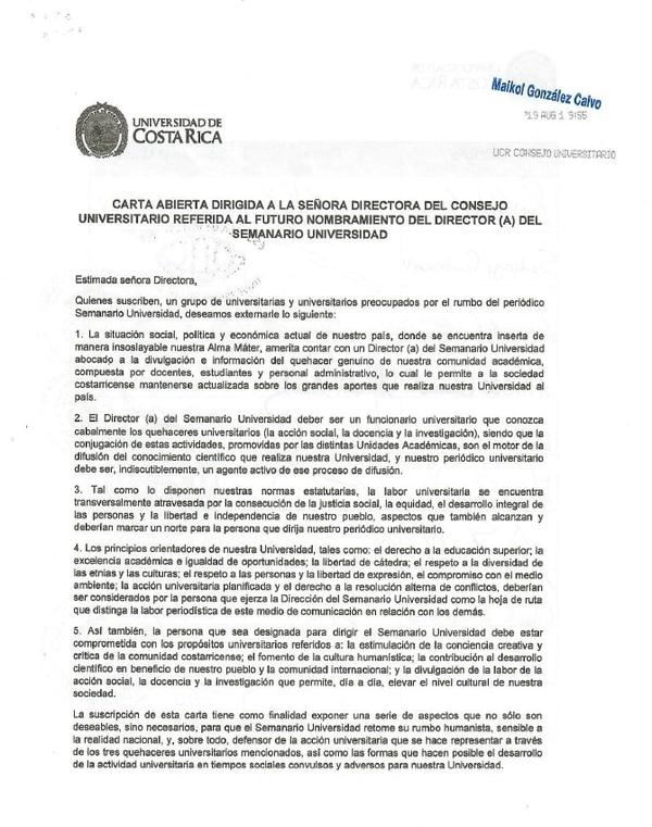 Carta enviada por 19 catedráticos al Consejo Universitario de la UCR, sobre el nombramiento del nuevo director de semanario Universidad. Reproducción