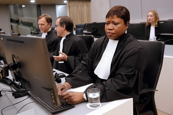 Chief Prosecutor Fatou Bensouda seats in the International Criminal Court (ICC) in The Hague on September 27, 2016 during Ahmad Al Faqi Al Mahdi's sentencing for destroying Timbuktu's shrines. Mahdi was sentenced to nine years in jail for destroying the shrines, after he was found guilty of directing the 2012 attacks on the UNESCO world heritage site in northern Mali. / AFP PHOTO / ANP / Bas Czerwinski / Netherlands OUT