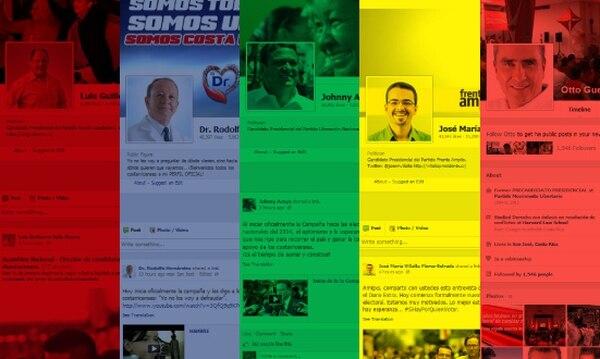 Perfil de Facebook de algunos candidatos a la presidencia de la República.