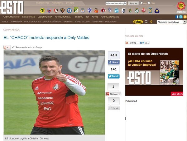 Esta es la nota de Diario Esto sobre la polémica entre el jugador de México, Christian