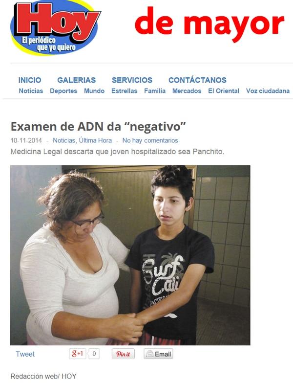 La página en Internet del Diario Hoy de Nicaragua publica la noticia de que el joven encontrado en Jinotepe no es el hijo de Ángela Potosme, quien cumple 13 años buscándolo.