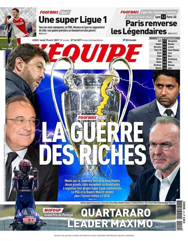 La portada del periódico L'Équipe (Francia) de este lunes 19 de abril, con el titular: