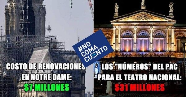 Una de las publicaciones que se está compartiendo sobre la renovación de Notre Dame en comparación con el Teatro Nacional. Foto: Reproducción.