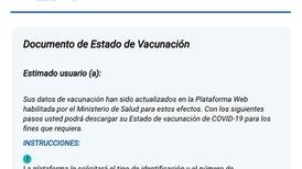 Ministerio de Salud sí envía correo electrónico para ofrecer certificado de vacunación