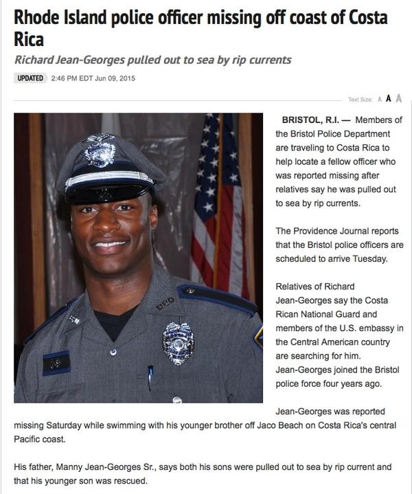 Oficial estadounidense Richard Jean-Georges estaba de paseo en Costa Rica. Foto: Captura de pantalla