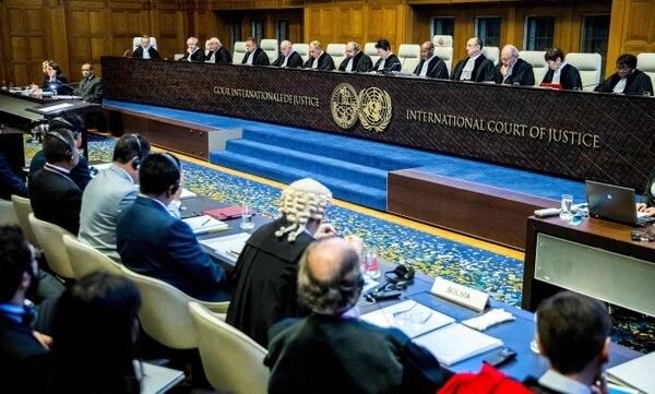 Los jueces escucharon los alegatos de Bolivia en la Corte Internacional de Justicia sobre el conflicto fronterizo con Chile, el 19 de marzo del 2018.