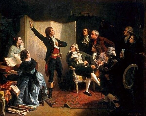 Rouget de Lisle, compositor de La Marseillaise , la canta por primera vez. Óleo de Isidore Pils ejecutado en 1849.
