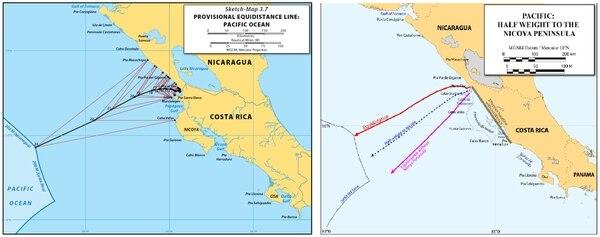 El mapa de la izquierda es la propuesta de Costa Rica de donde debe salir el límite en el Oceano Pacífico entre ambos países. En el mapa de la derecha, se observa como Nicaragua elimina a la Península de Nicoya.