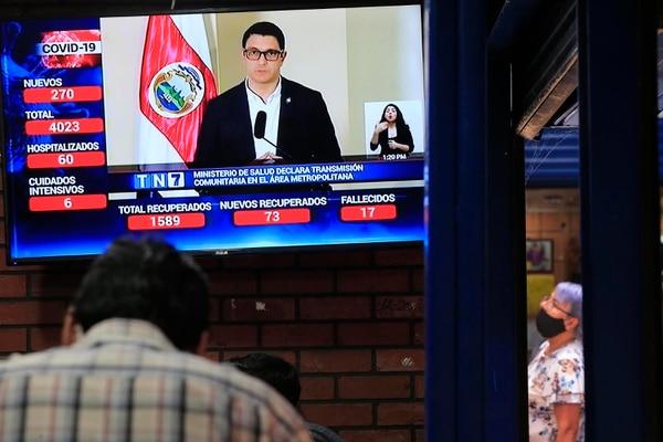 La imagen de Daniel Salas es familiar para la mayoría de habitantes de Costa Rica. Es usual verlo casi a diario dando reportes de la evolución del coronavirus en Costa Rica. Foto: Rafael Pacheco