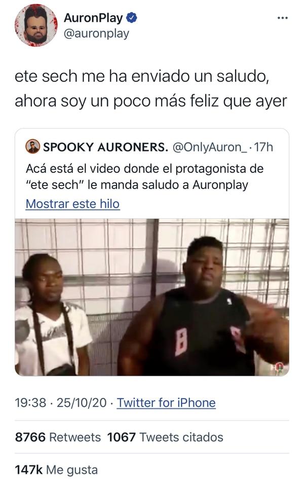 El famoso youtuber español AuronPlay, que es seguido por casi 20 millones de seguidores entre Instagram y Twitter, presumió el saludo que le envió el joven costarricense. Foto: Captura de pantalla
