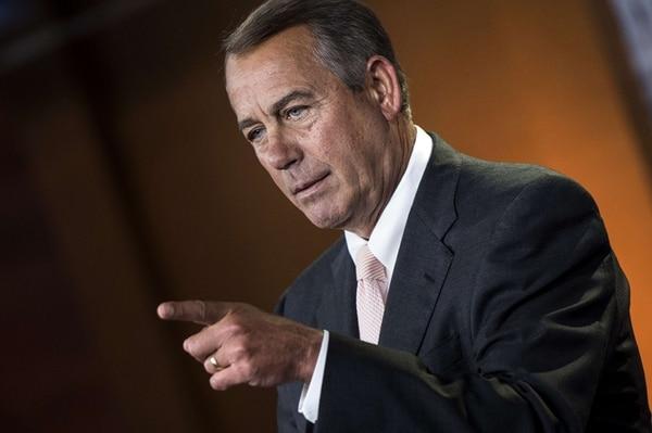 John Boehner, presidente de la Cámara de Representantes y dirigente del Partido Republicano, respondió ayer a preguntas de la prensa sobre la crisis migratoria. Una vez más, culpó al presidente Obama por esa situación. | AFP