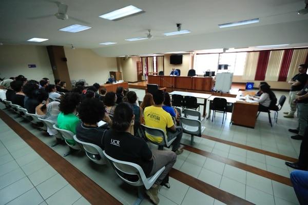 Audiencia para decidir medidas de universitarios detenidos. Fotografía José Cordero
